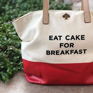 "Kate Spade ""Eat Cake For Breakfast"" Large Tote Bag"